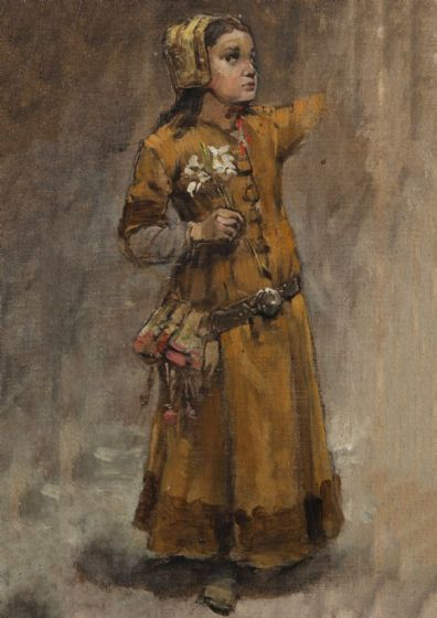 Hellqvist, Carl Gustaf: A Girl. Study for Valdemar Atterdag Holding Visby to Ransom Art Print (5466)